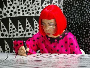 Yayoi Kusama at work.