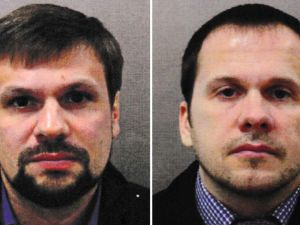 "Russian spies Aleksandr Petrov and Ruslan Boshirov are wanted by British prosecutors in the attempted assassination of Sergei Skripal. ""This was not a rogue operation,"" said Prime Minister Theresa May. ""It was almost certainly approved outside the GRU at a senior level of the Russian state."""