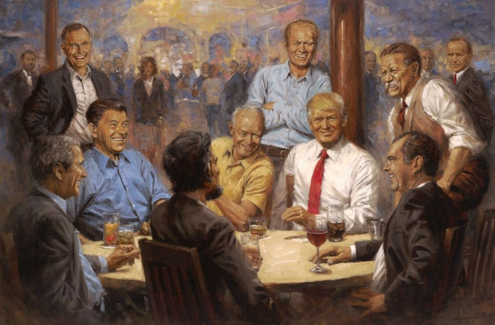 Everything We Know About Trump's White House Painting of Him Having a Coke with Abe Lincoln