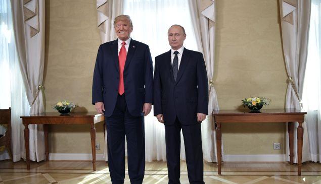 President Donald Trump and President Vladimir Putin ahead of their meeting in Helsinki.