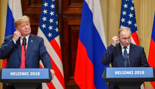 President Donald Trump and Russian President Vladimir Putin at a joint press conference after a meeting at the Presidential Palace in Helsinki, July, 2018.