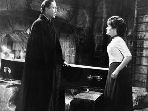 English actor Christopher Lee and actress Barbara Ewing in the 1968 film Dracula Has Risen From the Grave.