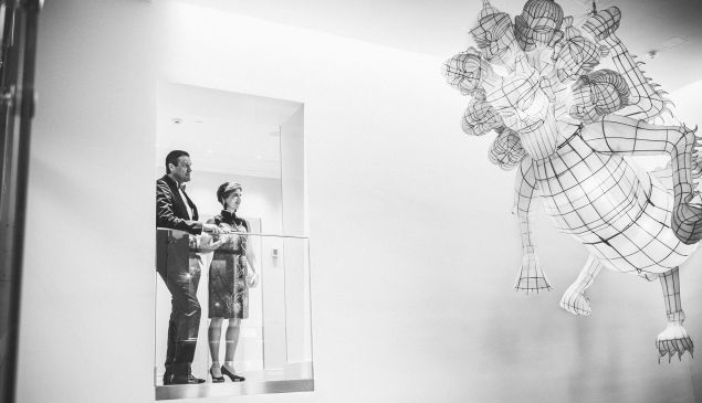 Guests at Helsinki's Hotel St. George admire the lobby's Ai Weiwei.