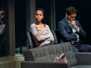 Kerry Washington and Steven Pasquale in American Son.
