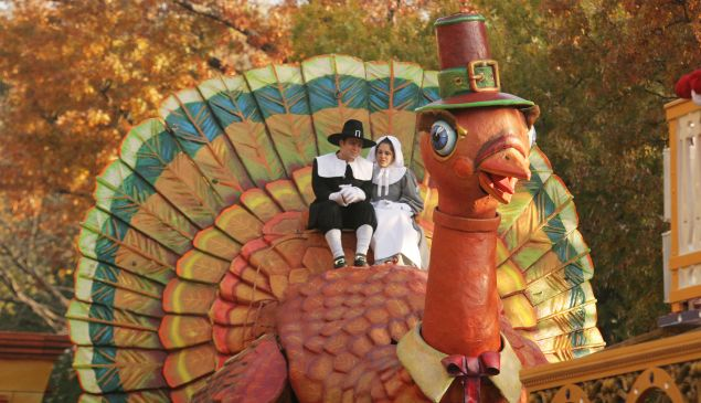 The Thanksgiving Turkey makes its way during the annual Macy's Thanksgiving Day Parade.