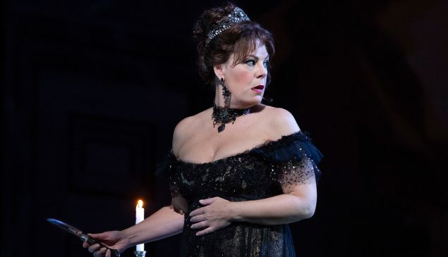 "Soprano Sondra Radvanovsky goes into the windup for a sensational moment in Puccini's ""Tosca'/"