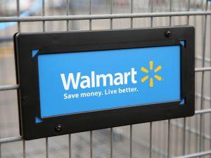 Walmart's logo displayed on a shopping cart.