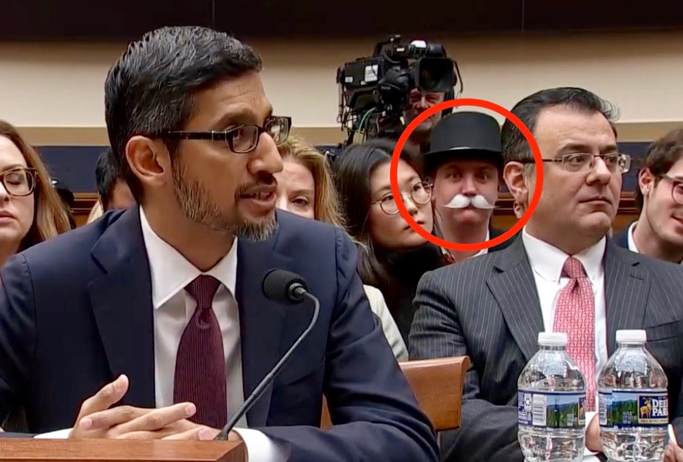 Google CEO Was Photobombed By the 'Monopoly Man' at Historic Congress Hearing