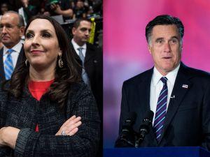 RNC chairwoman and Mitt Romney's niece Ronna McDaniel (l) and Senator-elect Mitt Romney (r).