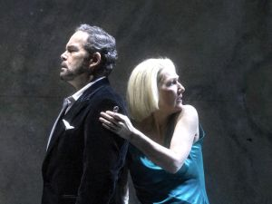Bluebeard (Gerald Finley) introduces Judith (Angela Denoke) to the horrors of his castle.