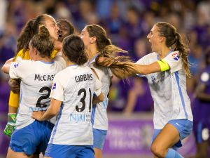 Sky Blue FC goalkeeper Kailen Sheridan (1) celebrates with her teammates after making a game saving PK save during the NWSL soccer match between the Orlando Pride and New Jersey Sky Blue FC on August 5th, 2018.