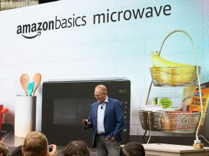 "Dave Limp, Senior Vice President of Amazon Devices, intoduces the ""amazonbasics microwave,"" which can be controlled by an Alexa, on September 20, 2018."