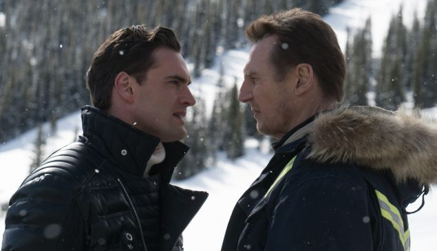 Tom Bateman and Liam Neeson in Cold Pursuit.