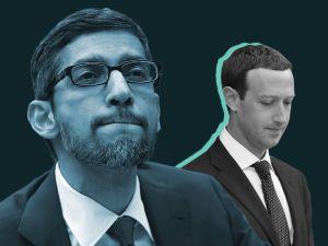 Google CEO Sundar Pichai and Facebook CEO Mark Zuckerberg.