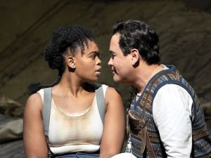 Marie (Pretty Yende) and Tonio (Javier Camarena) take a break from peeling potatoes to discover love.