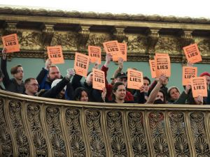 Protestors interrupt a New York City Council Finance Committee hearing titled 'Amazon HQ2 Stage 2: Does the Amazon Deal Deliver for New York City Residents?' at New York City Hall, on January 30, 2019.