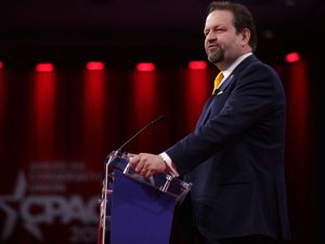 Former White House adviser Sebastian Gorka speaks during CPAC 2019.