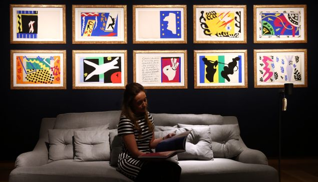 A collection of Henri Matisse original prints from his jazz portfolio on view before being sold at Christie's auction house in 2016.