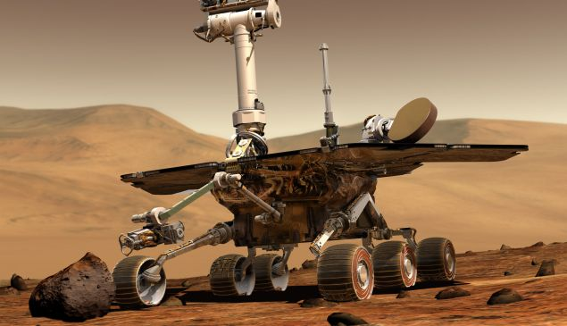 An artist's concept portrays a NASA Mars Exploration Rover on the surface of Mars. Two rovers were launched in 2003 and arrived at sites on Mars in January 2004