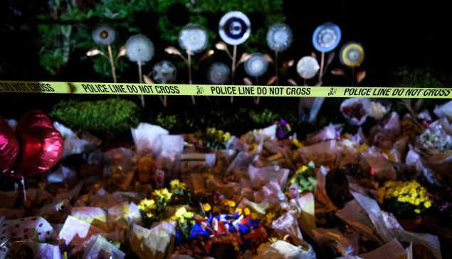 A makeshift memorial is seen outside the Tree of Life Congregation in Pittsburgh, after a gunman killed 11 people in a massacre at the synagogue on October 27, 2018.