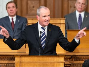 New Jersey Governor Phil Murphy delivering the 2019 New Jersey State of the State address in the Assembly Chambers at the New Jersey State House in Trenton.