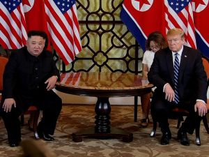 U.S. President Donald Trump (R) and North Korean leader Kim Jong-un (L) meet during their second summit on February 28, 2019 in Hanoi, Vietnam.