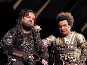 Tomasz Konieczny (Alberich) and Norbert Ernst (Loge) compare their pleather garb in the Met's 'Das Rheingold'.