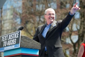 "Governor Phil Murphy speaks at Cory Booker's ""Justice For All"" Kickoff Tour in Newark, N.J. on April, 13, 2019."