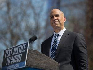 "Cory Booker at the ""Justice For All"" Kickoff Tour in Newark, N.J. on April 13, 2019."