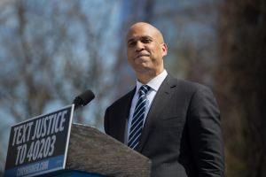 """Cory Booker at the """"Justice For All"""" Kickoff Tour in Newark, N.J. on April 13, 2019."""