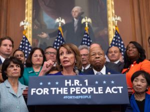 "U.S. Speaker of the House Nancy Pelosi speaks alongside Democratic members of the House about H.R.1, the ""For the People Act,"" at the U.S. Capitol in Washington, D.C. on January 4, 2019."