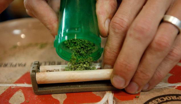 A budtender rolls a joint.