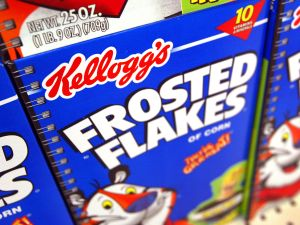 Boxes of Kellogg's Frosted Flakes cereal are seen displayed inside a Wal-Mart store July 28, 2003 in Rolling Meadows, Illinois.