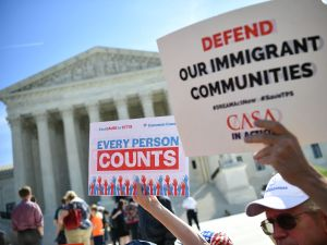 Demonstrators rally at the US Supreme Court in Washington, D.C., on April 23, 2019, to protest a proposal to add a citizenship question to the 2020 Census.