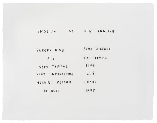 A work by Christine Sun Kim, <em>English vs Deaf English</em>, 2018.