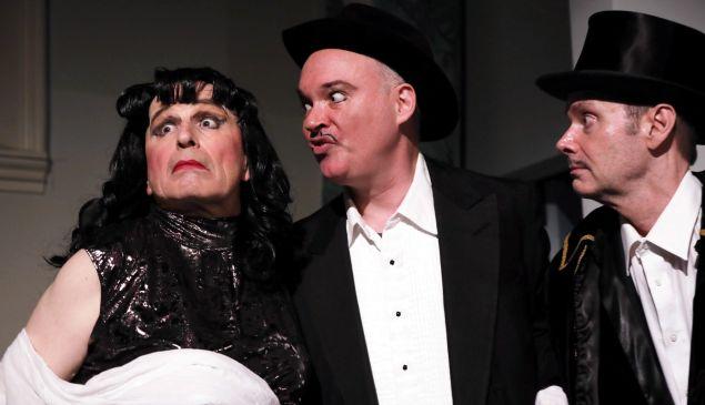 Tempestuous diva Maria Magdalena Galas (Everett Quinton, left) defies the impresarios of La Scala.