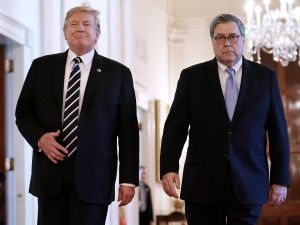 U.S. President Donald Trump (L) and Attorney General William Barr