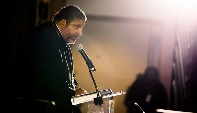 Reverend William Barber speaks at the Poor People's Moral Action Congress at Trinity University in Washington D.C.