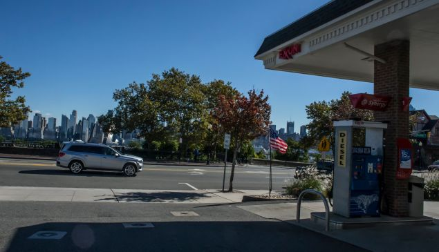 A car pass by a Exxon mobile gas station on October 25, 2018 in Weehawken New Jersey.
