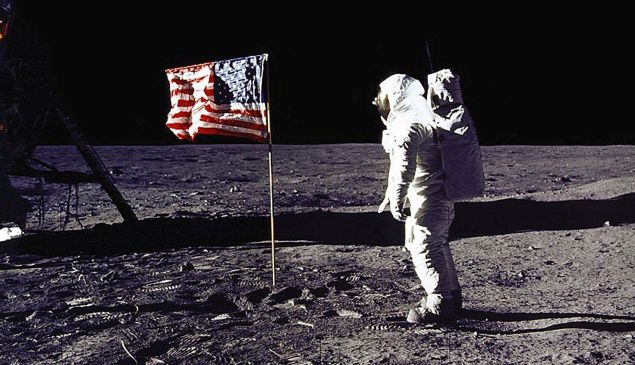 Astronaut Buzz Aldrin salutes the U.S. flag on the surface of the moon during the Apollo 11 lunar mission on July 20, 1969.
