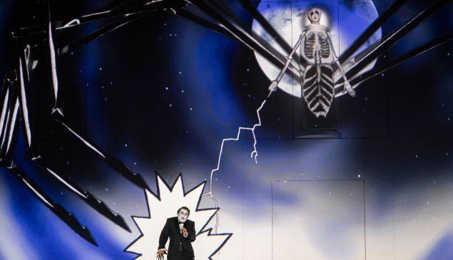 The wicked Queen (Audrey Luna) zaps Prince Tamino (Julien Behr) in Mostly Mozart's 'Zauberflöte'.
