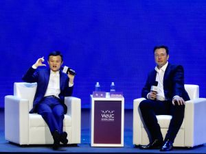 Alibaba founder Jack Ma and Tesla CEO Elon Musk meet in Shanghai, China on August 29.