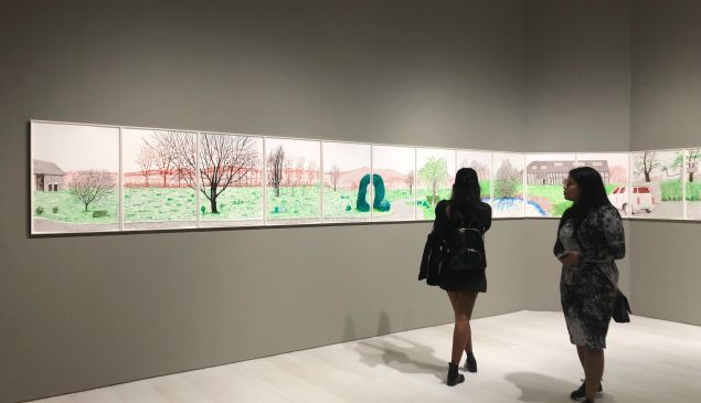 New drawings by David Hockney on display at Pace headquarters.