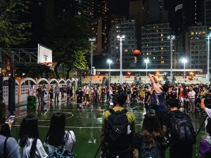 Hundreds of basketball fans gather to show support of the Houston Rockets general manager, Daryl Morey, and NBA commissioner Adam Silver, on October 15, 2019 in Hong Kong, China.