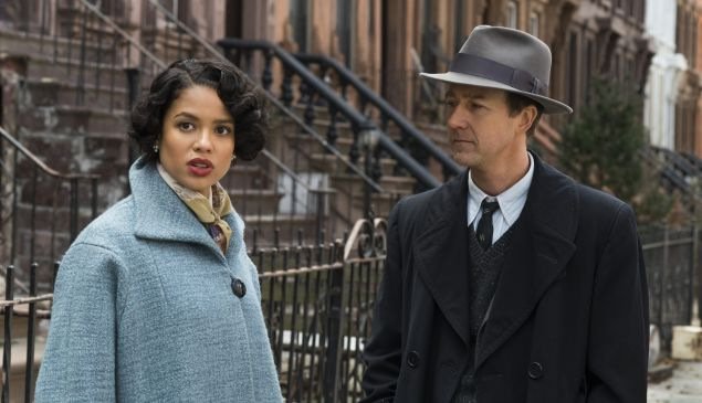 Gugu Mbatha-Raw and Edward Norton in Motherless Brooklyn.