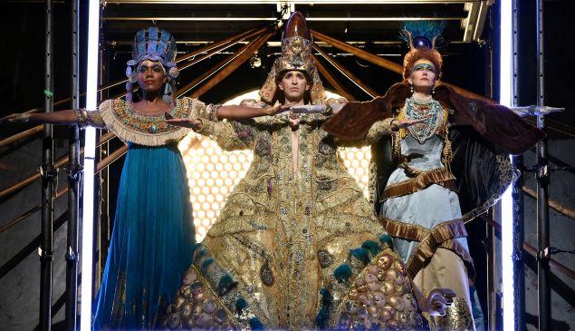 J'Nai Bridges, Anthony Roth Costanzo, and Dísella Lárusdóttir as the Egyptian royal family in 'Akhnaten'.
