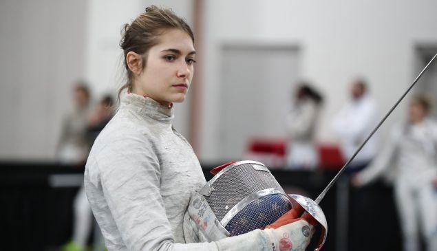 Monica Aksamit of the USA prepares to fence in the preliminary rounds at the Women's Sabre World Cup on January 25, 2019 at the Salt Palace Convention Center in Salt Lake City, Utah.