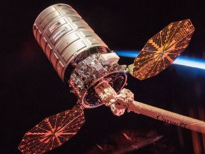 NASA astronaut Randy Bresnik photographed Orbital ATK's Cygnus cargo spacecraft at sunrise, prior to its departure from the International Space Station at 8:11 a.m., Dec. 6, 2017.