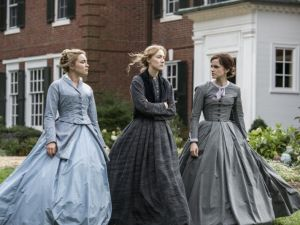 Florence Pugh, Saoirse Ronan and Emma Watson in Little Women.
