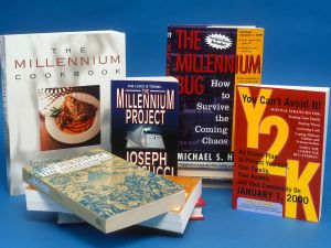 A sample of Y2K related books are photographed December 1, 1999 in New York City.